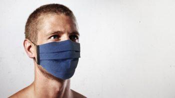 Masque de protection tissu de lin Homme Bleu